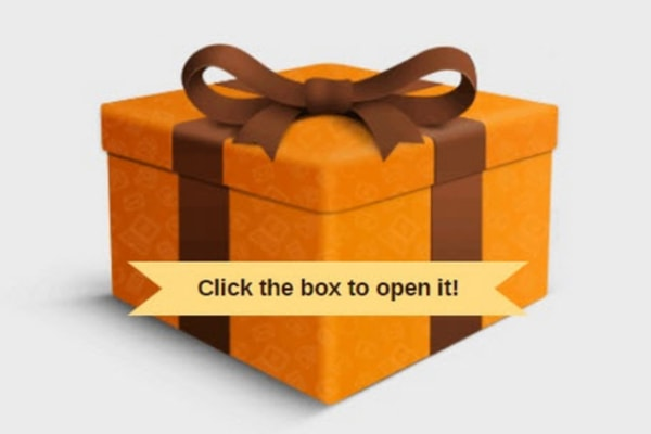 An example of a Gift Box included in an email campaign